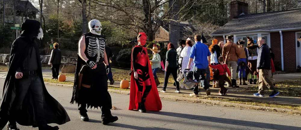 Extras Used to Recreate Halloween Scene for Movie